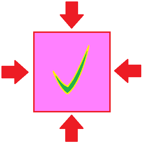 an image with arrows pointing at a square, squishing it